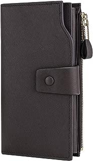 Itslife Women's RFID Blocking Large Capacity Luxury Wax Genuine Leather Clutch Wallet Card Holder Organizer Ladies Purse Stripe Coffee