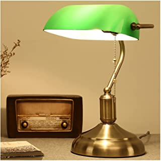 MIVPD Lampe de Banquier, Verte avec Chainette Commutateur à Chaîne à Tirer Vintage Verre Lampe, Fini Laiton for Decoration...