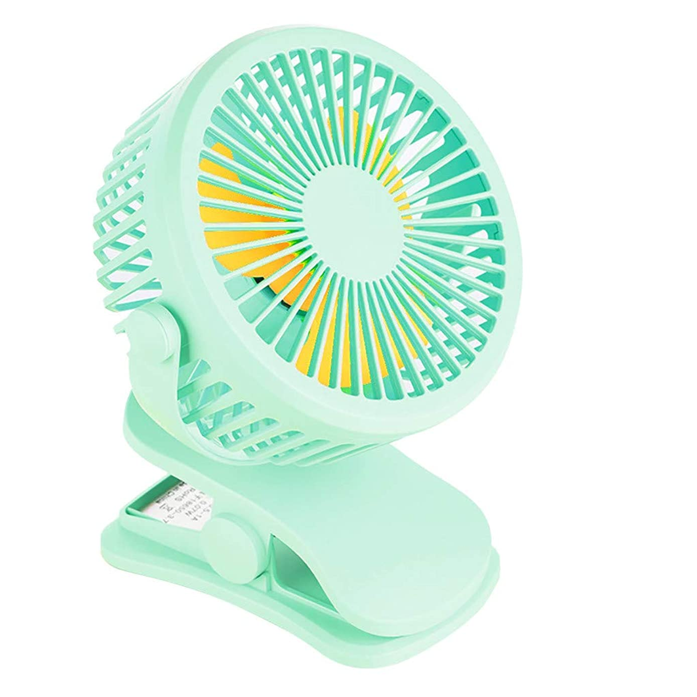 Yamart Battery Operated Clip on Stroller Fan - Mini Portable 360° Rotatable Desk Fan with Rechargeable Battery Powered Fan for Baby Stroller, Outdoor Activities
