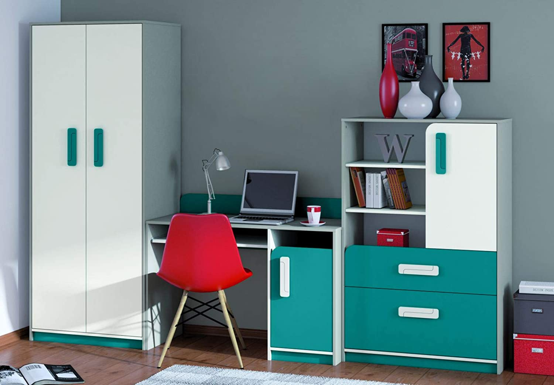 Kinderzimmer Set G Renton, 3-teilig, Farbe  Platingrau Wei Blaugrün