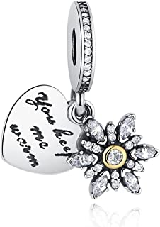 MYBEBOA Owls Charm Wise as Owls 925 Sterling Silver Gold Plated Animal Lovers Charms Bead Charms with 5A Cubic Zirconia for Brand European Bracelets