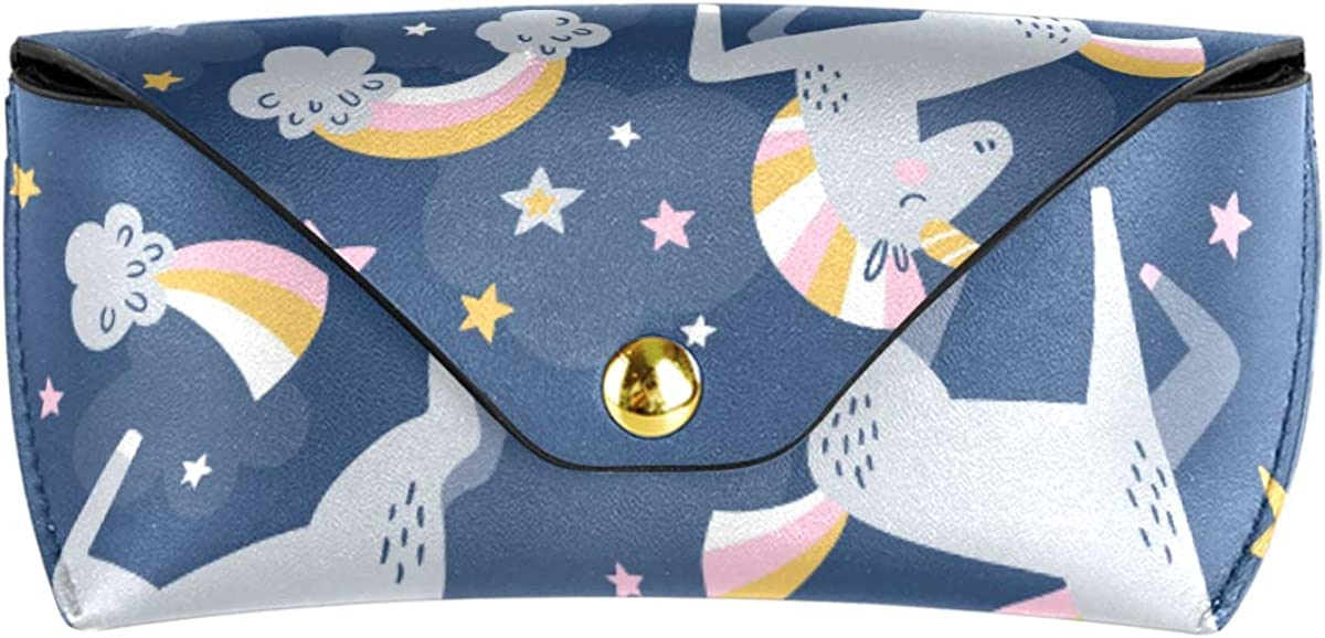 Portable PU Leather Multiuse Goggles Bag Wallet Starry Night Magic Unicorn Sunglasses Case Eyeglasses Pouch