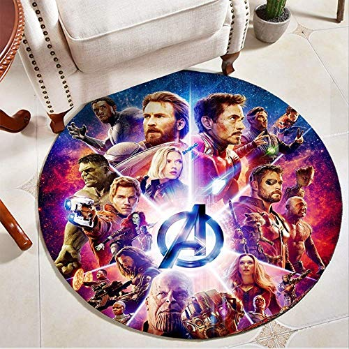 N|A Avengers Marvel Helden Runder Teppich Iron Man Spider-Man Schlafzimmer Computer Drehstuhl Hängende Korbmatte a 100 cm im Durchmesser