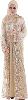 Open Abaya for Women, Long Sleeve Soft Lace Sequins Embroidered Cardigan with Belt