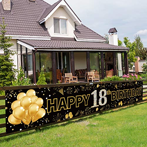 Pimvimcim Happy 18th Birthday Banner Decorations for Girls Boys - Large 18th Birthday Party Sign Backdrop - Gold 18 Year Old Birthday Party Decorations Supplies Background(9.8x1.6ft)