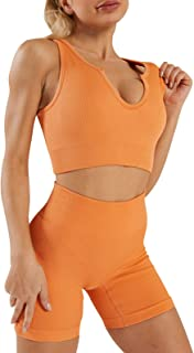 Seamless Yoga Workout Outfits Sets for Women 2 Piece Ribbed Crop Tank High Waist Exercise Biker Shorts Sports Bra Set