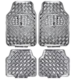 BDK Universal Fit 4-Piece Metallic Design Car Floor Mat -...