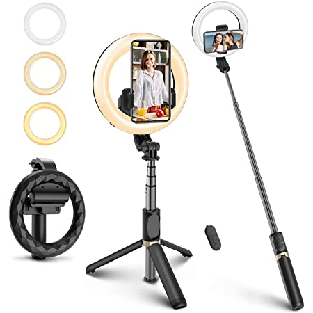 Brandtrendy Aro de luz Selfie Stick 4 en 1 con Palo Selfie, Tripod o tripié extendible, con Aro de luz LED de 16 centímetros y Control Remoto Bluetooth