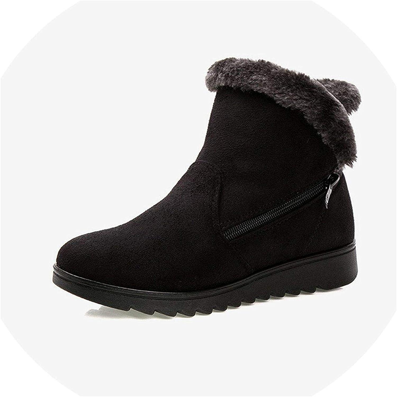 High end Women Snow Boots Warm Short Fur Plush Winter Ankle Boot Plus Size Platform Ladies Suede