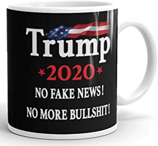 No Fake News - Donald Trump 2020 Prank Gift Mug - Novelty Ceramic Coffee Mug - Funny Gifts for Him and Her - Gag Birthday Present Idea From Wife, Daughter, Son - 11 Fl. Oz Black