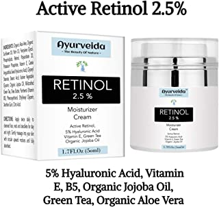 2.5% Active Retinol Moisturizer Face Cream Serum with 5% Hyaluronic Acid, Vitamin E & Organic Jojoba Oil