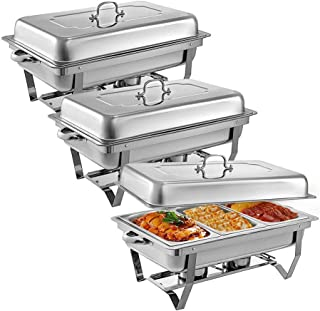 3 Pcs Stainless Steel Chafing Dishes 3 1 In 3rd Size Pans 8 Quart Rectangular Chafer Complete Set Buffet Tray Food Warmer
