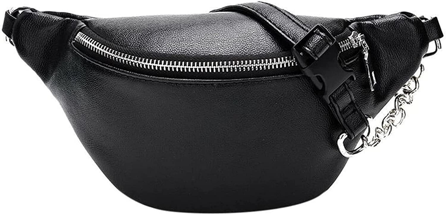 DSWHM Leather Fanny Packs Chest Bag Metalic Phone Cha Purse New product Translated with