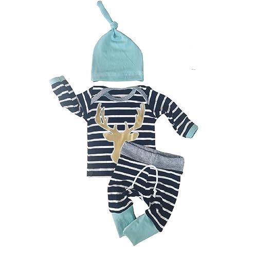 3c12b147b189 3pcs Set Newborn Baby Boys Girls Striped Long Sleeve Deer Tops Pants Hat  Outfits