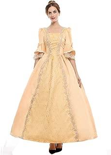 ROLECOS Womens Royal Retro Medieval Renaissance Dresses Lady Satin Masquerade Dress