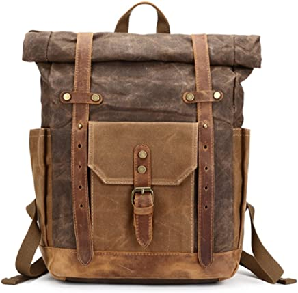 Color : Bronze, Size : L Lydianzishangwu Mens Luggage Bag Crazy Horse Leather Travel Bag Retro Multifunctional Portable Messenger Bag Canvas Bag