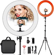 19 inch LED Ring Light with 2M Stand for Phone and Camera, FOSITAN 18 inches/48.5cm Outer 55W 5500K/3200K Dimmable w/Filters Carrying Bag for YouTube Vlog Makeup Studio Video Shooting