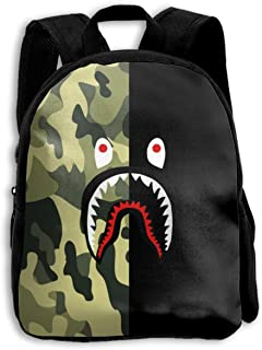 Ba-pe Shark Half Green Camo School Backpack Travel Bag For Boys And Girls