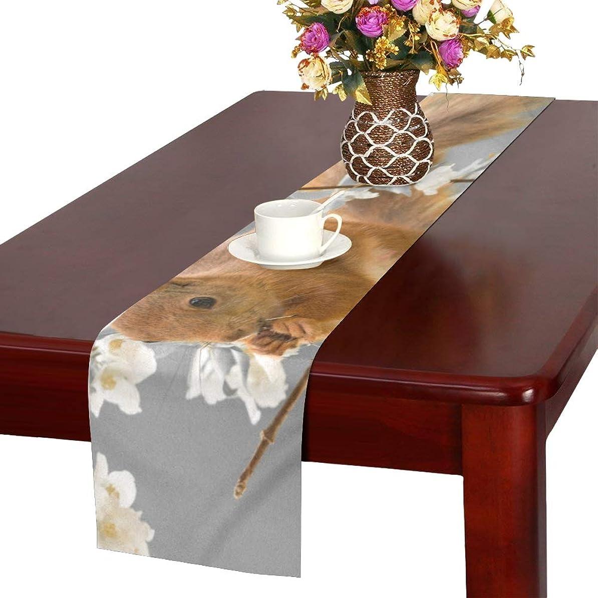 のぞき穴労働者彼のGGSXD テーブルランナー 面白い リス クロス 食卓カバー 麻綿製 欧米 おしゃれ 16 Inch X 72 Inch (40cm X 182cm) キッチン ダイニング ホーム デコレーション モダン リビング 洗える