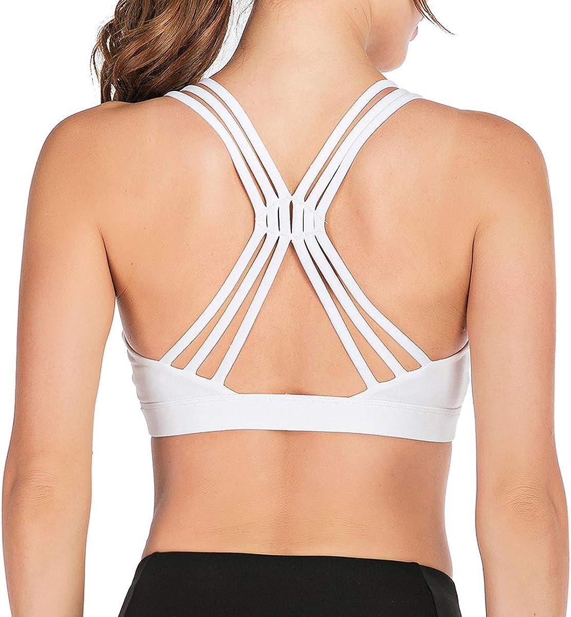Lelinta Womens Padded Sports Bra Cross Back Bra Workout Strappy Bra Seamless Yoga Bra
