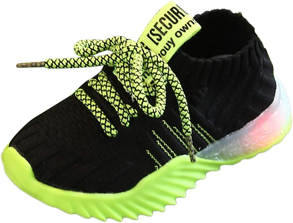 WUAI Little Kids Novelty LED Light Up Shoes Girls Boys Lightweight Breathable Flashing Sneakers Running Tennis Shoes