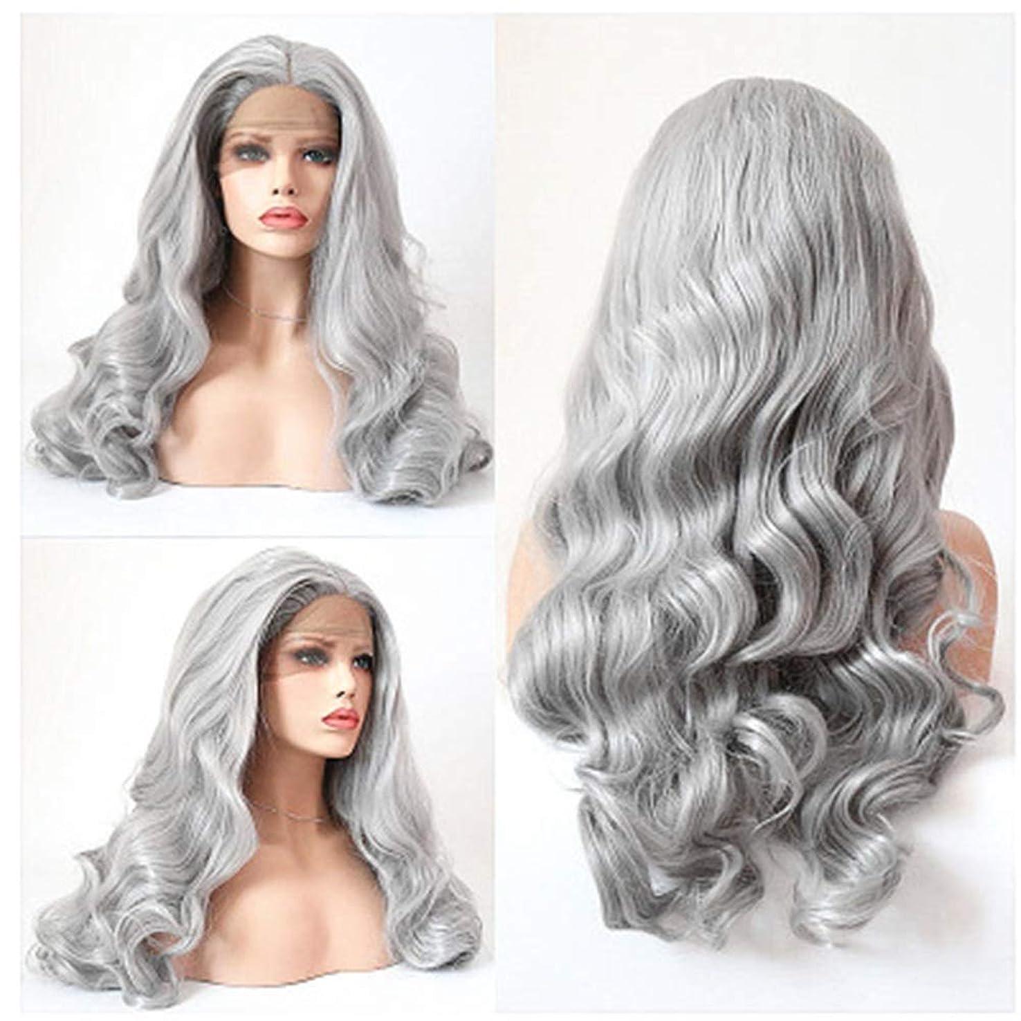 パッチ飼料ユダヤ人ZXF おばあちゃんの灰色のレースのヨーロッパとアメリカの女性のファッションビッグウェーブ長い巻き毛の化学繊維の毛髪のかつらのセット 美しい