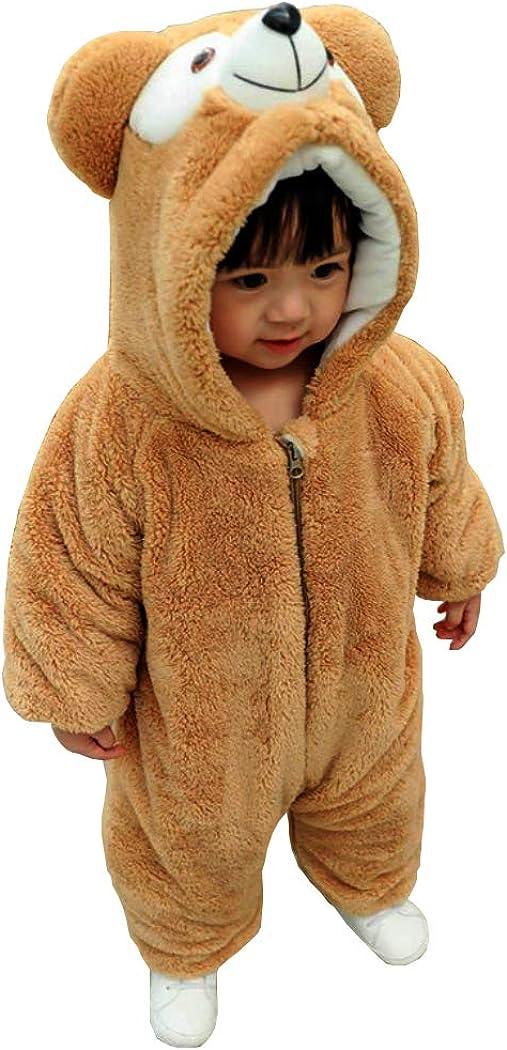 JIAJIAMIN Newborn Baby Cartoon Snowsuit Warm Thick Fleece Hooded Romper Onesie Jumpsuit