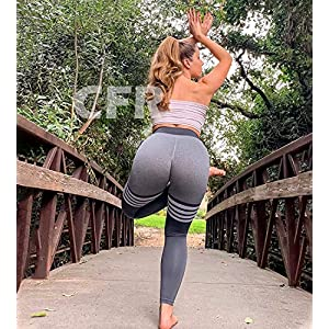 CFR Women's Tummy Control High Waisted Gym Sport Ombre Seamless Leggings Stretch Fit Pants Workout Tights #5 Gray L