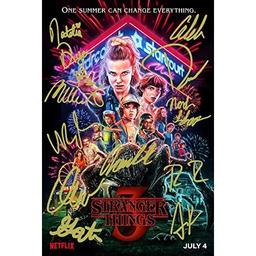 Poster di Stranger Things Stagione 3, autografato in PP da 11 Cast Eleven Autograph Print Collectible