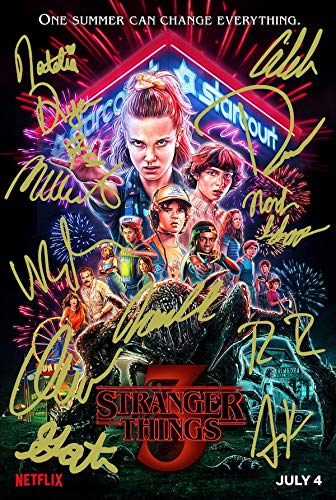 Stranger Things Season 3 Poster Photo 12x8 Signed PP by 11 Cast Eleven Autograph Print Collectible