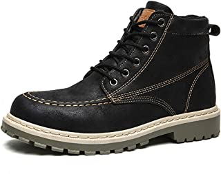 Casual Men Stylish Combat Ankle Boots, Lace Up Walking Hiking Mid Work Boots Waterproof Lightweight Outdoor Combat Shoes