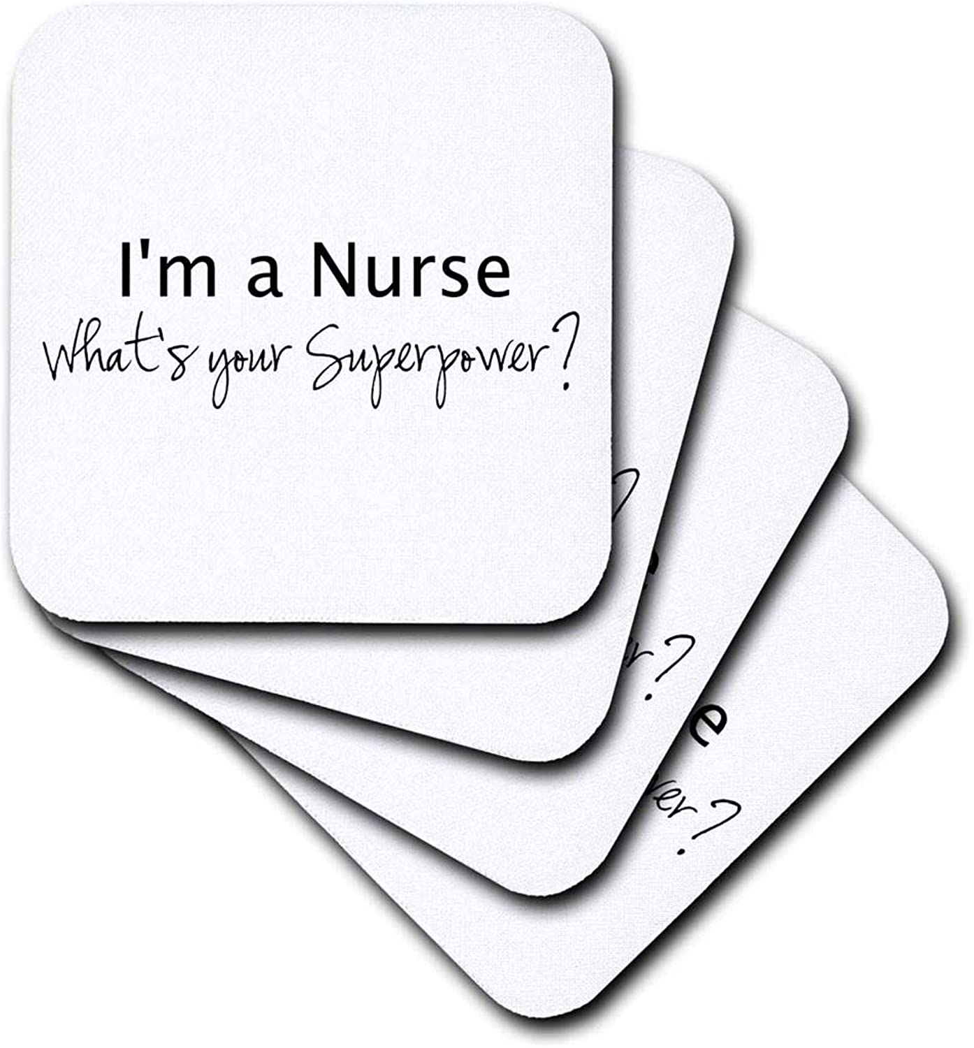 (set-of-8-Soft) - 3dpink CST_184947_2 Im a Nurse Whats Your Superpower Funny Medical Profession Gift Soft Coasters, Set of 8