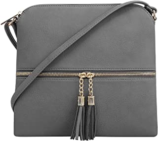 Lightweight Medium Crossbody Bag with Tassel and Zipper Pocket