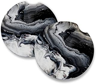 Black Marble | Car Coasters for Drinks Set of 2 | Perfect Car Accessories with Absorbent Coasters. Car Coaster Measures 2....