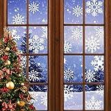 Yuragim Pegatinas para ventana con diseño de copos de nieve, decoración navideña, decoración navideña, decoración para ventanas, ventanas, vitrinas, frentes de cristal
