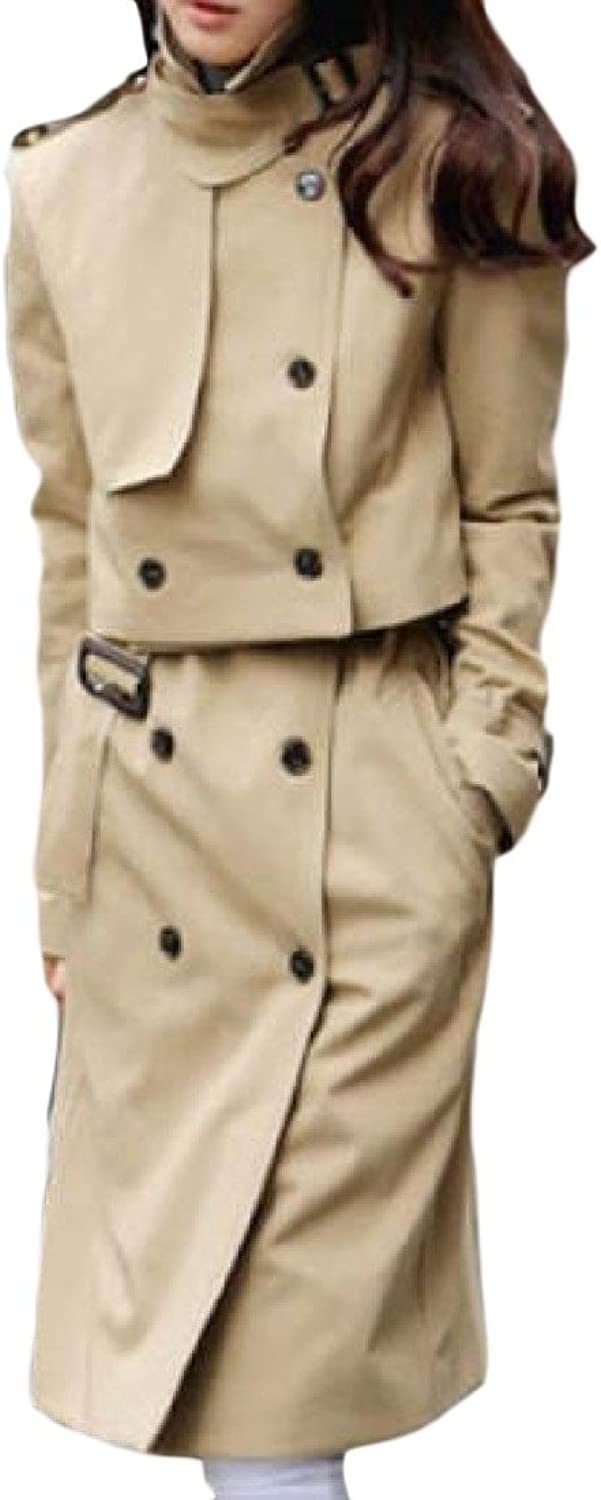 CoolredWomen Two Piece Double Breasted Turn Down Collar Trench Coat