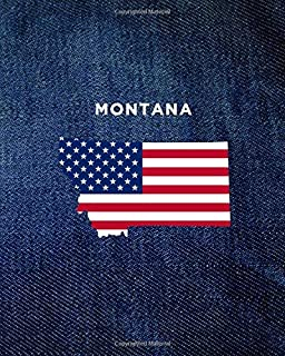 MONTANA: 8x10 wide ruled notebook : vintage denim jeans : USA Flag : The Great State of MT