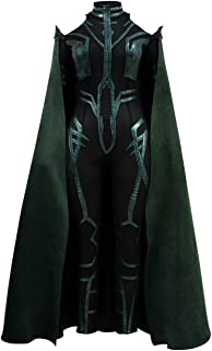 Hela Costume Halloween Cosplay PU Outfits with Green Cloak for Women