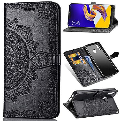 Para Asus Zenfone 5 ZE620KL / 5Z ZS620KL Capa carteira de couro PU flip para cartão (preta)