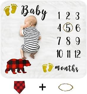 Cimkiz Baby Monthly Milestone Blanket for Boys and Girls Organic Premium Fleece Photography Background Blankets Bonus Floral Wreath + Bib Best Newborn Photo Prop Large (47x43in)