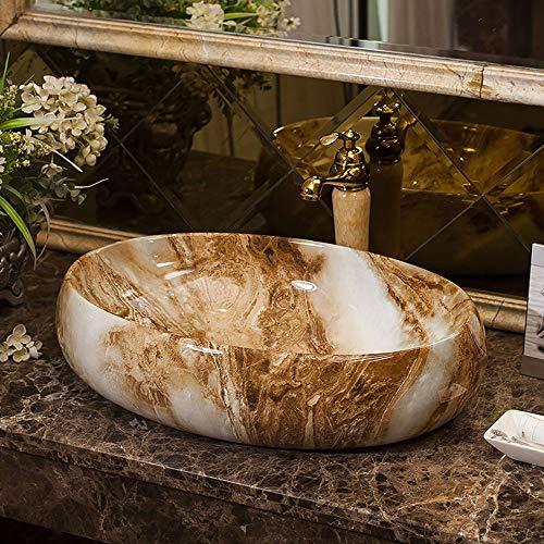 63x42x13cm ovale in porcellana Vessel Sink con rubinetto, Contatore europea Top Lavabo in ceramica da bagno artistico dispersore di vanità, Moderno Marmo modello del lavabo Bowl for lavabo Vanity Cabi