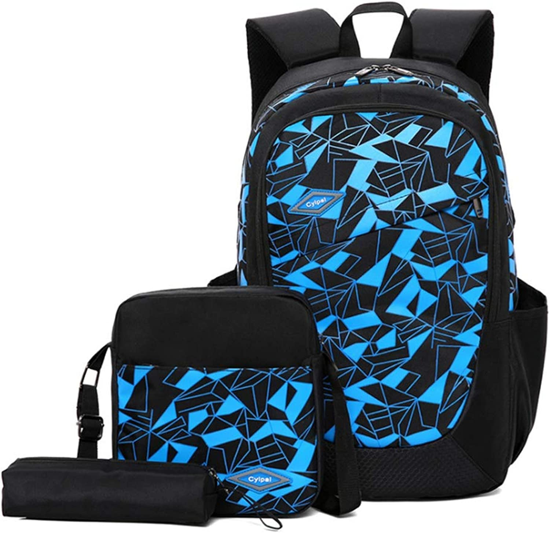 MELLRO Zaini per la Scuola Ragazzi Ragazze Ragazzi 3 in 1 Zaino Set Confezione da 3 Pezzi Borsa da Viaggio per Studenti (Coloreee   Blu)
