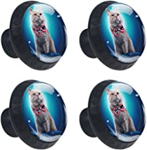 Drawer Knobs Creative Cat with Bow Tie Blue Cabinet Drawer Pulls Handle Crystal Glass Round 4pcs DIY Dresser Wardrobe Bookcase Cupboard Knob with Screws for Home Office