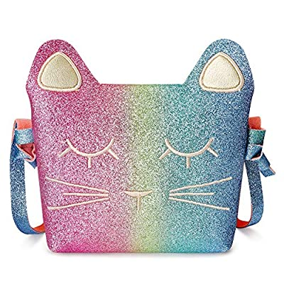 CMK Trendy Kids Cat Purse for Little Girls Toddlers Crossbody Bag (Rainbow Glitter)