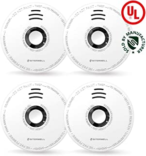 SITERWELL Smoke Detectors DC 9V Battery Operated Power,Easy Install & Safety Clip Photoelectric Smoke Alarms with UL Listed, Big Test Button,Low Battery Signal Alarm 4 Pack Fire Alarm(GS528A)