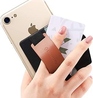 Sinjimoru スマホスタンド カード入れ、落下防止 ハンドストラップにどこでも楽に動画 視聴できるレザースタンド、運転免許証、クレジットカード SUICAなどカード入れできる 手帳型 カードホルダー。シンジポーチB-GRIP ブラウン。