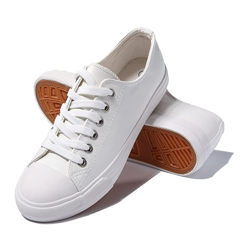 AOMAIS Womens Fashion PU Leather Sneakers Low Top Lace up Canvas Shoes