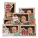 FLOFIA 12pcs Caja de Navidad Papel Kraft Ventana Caja de Cupcakes Caja de Papel Pequeño de Dulces Galleta Pastel para Regalo Navideño Fiesta 7 * 15 * 22cm, 3 Patrones