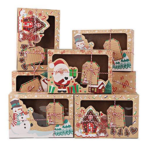 FLOFIA 12 Stück Weihnachten Geschenkbox Schachtel für Süßigkeiten keks Plätzchen Weinachten Box Xmas Geschenkkarton mit Sichtfenster für Weihnachten Geschenk Keksverpackungen Weihnachtsdeko