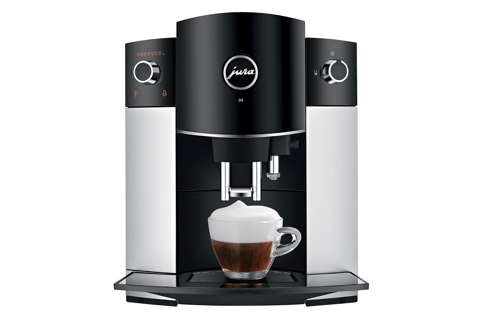 JURA D6 Independiente Máquina espresso Negro, Platino 1,9 L 16 tazas Totalmente automática - Cafetera (Independiente, Máquina espresso, 1,9 L, Molinillo integrado, 1450 W, Negro, Platino): Amazon.es: Hogar